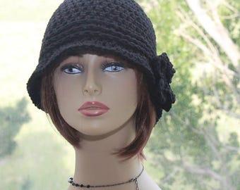 Crochet Womens Hat Flapper Hat crochet brim hat 20s style hat crochet cute flower hat bucket hat womens flapper hat Black Boho style hat