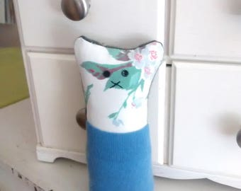 Pocket critter, FREE U.S. shipping,  vintage tablecloth, tooth fairy pillow, animal pillow, kids pillow, etsy kids pillow