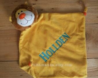 Yellow Lion Minky Blanket - Monogrammed Lion Blankie - Monogram Baby Gift - Security Blanket