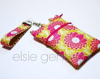 Pink & Yellow Phone Case with Wristlet Optional Shoulder Strap  iPhone 6 Plus 6S Phone Case Hot Pink Mustard Yellow  Ready to Ship