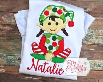 Girls Christmas Elf Shirt, Custom Christmas Shirt, Girls Elf Shirt, Christmas Shirt, Girls Christmas Shirt