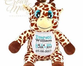 Personalized stuffed animals canada by crownminkyblankets on etsy personalized stuffed animal birth announcement stuffed animal giraffe negle Choice Image