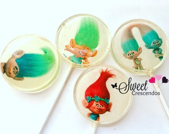 Long Haired Troll Friends Lollipops - Kidsparty- Birthday Party Favors- Troll Inspired- Baby Shower Favors- Hard Candy