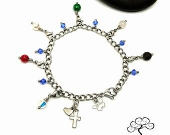 Stainless Steel Purity Charm Bracelet  with Detachable Lava Crystal and Gemstone Charms/ Gift Idea for Teen/ Sweet 16/ Custom Made to Order
