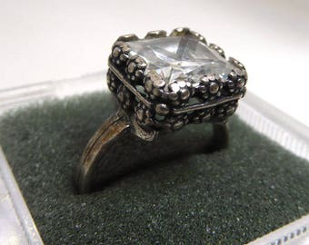 Art Deco Era Sterling Silver Ring - Signed With S or Dollar Sign - Lovely Setting