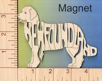 Newfoundland Dog laser cut and engraved wood Magnet