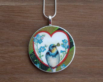 Love Bird Necklace, Love Bird Pendant, Vintage Love Bird, Handcrafted Jewelry, Gift for Bird Lovers, Free Shipping in US