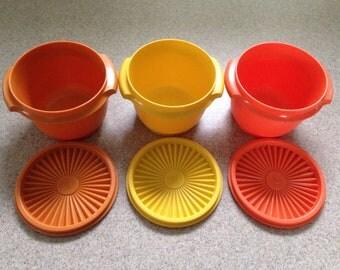 Vintage Tupperware Servalier Nesting Bowls - Tupperware Storage Containers