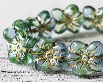 Czech Flower Beads - Czech Glass Flower Beads - Jewelry Making Supplies - 13x12mm  Transparent Seafoam - Choose Amount