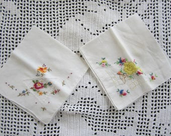 Vintage Embroidered and Petit Point Ladies Handkerchiefs Set of 2 with Colorful Needlework