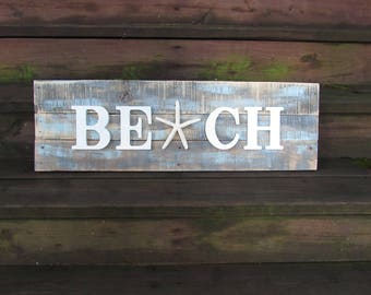 Large Beach Sign. Reclaimed Wood Beach Sign. Beach. Beach House Decor Sign. Coastal Decor. Weathered Beach Sign. Lake Shore Home.