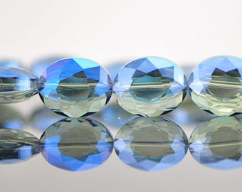 28pcs Faceted Oval Crystal Glass beads 20mm, Sparkly Montana Blue -(TS03-2)