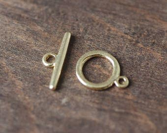 10 sets Gold Toggle Clasp, 24K Real Gold plated Brass, Easy Close Clasp 13mm Smooth Round (#GB-108)