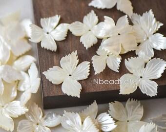 10pcs White Mother of Pearl Shell Flowers 25-40mm,  Unique 4-Petal Shape (V1232-4P)
