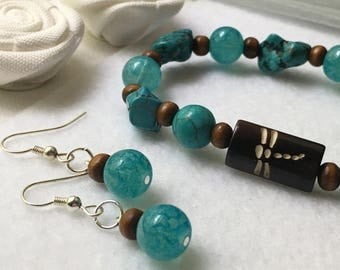 Dragonfly & Turquoise Bracelet and Matching Earrings Set, Small to Medium Wrist