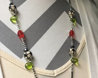 Soccer Ball Flower ID Badge Lanyard standard length with glass beads and leaves