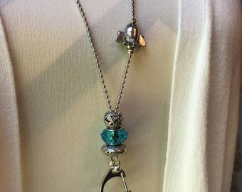 Aquamarine Airplane Lanyard Ball Chain ID Badge with Silver Pandora style beads
