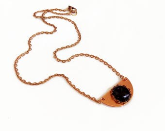 Onyx Necklace, Rose Gold Necklace, Minimal Geometric Copper Necklace, Half Circle Necklace, Trending Boho Necklace