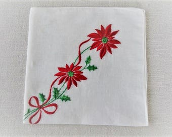 Vintage Christmas Handkerchief, Ladies Cotton Linen Holiday Hankie with Embroidered Poinsettia Stems, Holiday Tea Napkin, ECS, FREE Shipping