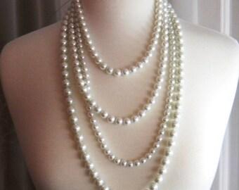 Multistrand Pearl Necklace, Unique Long Pearl Necklace, Chanel Inspired Pearl Necklace, Pearl Statement Multi Strand