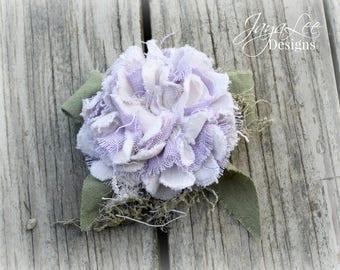 Shabby Purple Flower Brooch Corsage Clip Mori Girl