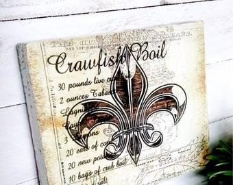 Crawfish recipe  ~ Wood sign Ready to hang Size is 5 1/2 wide X 4 1/2 length 1 in thick