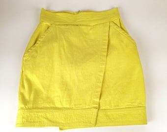 """Vintage 90s Miniskirt, Gianni Versace Jeans Couture, Bright Yellow Denim, Cotton, Wrap Style, New Old Stock, W 24"""", Color Block, Pockets!"""