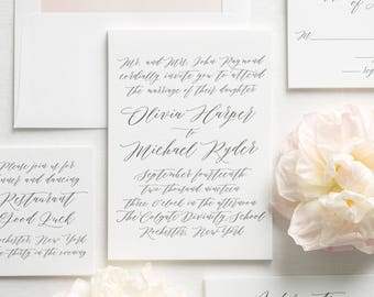 Olivia Letterpress Wedding Invitations - Deposit