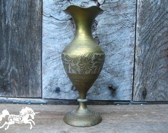 Vintage BRASS VASE, 7 Inches Tall with Engraved Floral Pattern, Metal with Age Patina, Made in India, Etched Daisy Daisies Flower Flowers