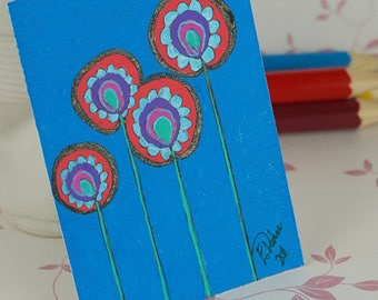 Pink Flower Abstract Pattern ACEO Blue Background Original Art Card