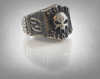 69 EASY RIDER HARLEY Outlaws skull ring solid sterling silver 925