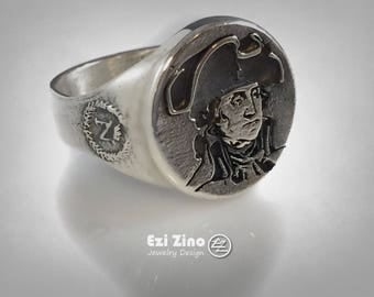 Napoléon Bonaparte Portrait Sterling Silver 925 Ring by EZI ZINO