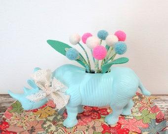 Rhino Planter with Pom pom Flowers - Animal Figurine Air Plant Holder - Fake, Faux Felt Plant - Nursery Floral Arrangement - Africa Theme