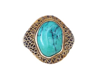 Antique Chinese Turquoise Silver Vermeil Filigree Ring - Chinese Export, Gold Plated, Turquoise Stone, Vintage Ring, Size 7.5 Adjustable