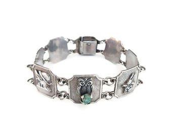 Silver Emerald Nugget Animal Bracelet - 900 Silver, Nursery Rhyme, Emerald Nuggets, Vintage Bracelet, Vintage Jewelry