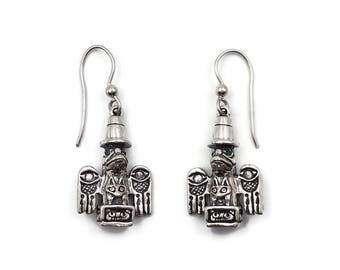 Sterling Raven Totem Charm Earrings - Kabana Sterling, Tlingit Tribe, Native American Totems, Sterling Silver Earrings, Dangle Drop Earrings