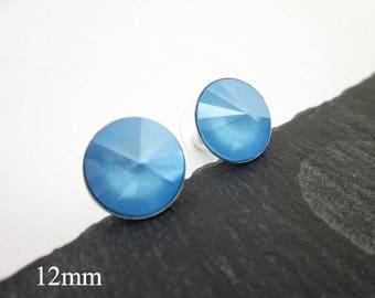 Blue Crystal Studs -- Blue Swarovski Studs -- Blue Crystal Posts -- Round Blue Posts -- Blue Post Earrings -- Summer Blue Swarovski Studs