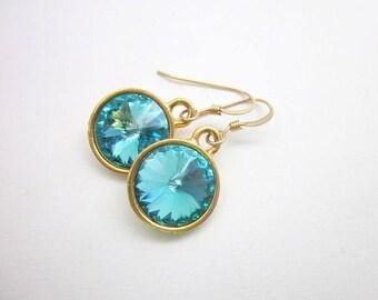 Teal Dangles -- Teal Drop Earrings -- Turquoise Crystal Earrings -- Teal & Gold Earrings -- Light Turquoise Crystal Earrings -- Teal Rivoli
