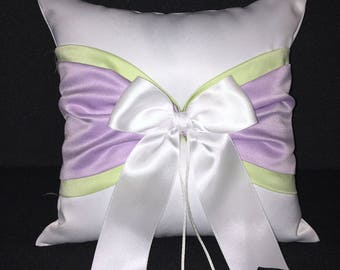 Spring Green and Lavender Accent White or Ivory  Wedding Ring Bearer Pillow