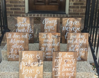 Love Is Patient Love Is Kind Wedding Aisle Signs ~ Set Of 8 ~ Custom Wedding Signs ~ WEDDING ~ 1 Corinthians 13 ~ Wedding Aisle Decoration