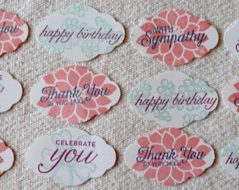 1 Dozen Handmade All Occasion Tags, Birthday, Sympathy, Thank You, +? Cream or White, Stampin' Up! New Pretty Label Punch, In Colors