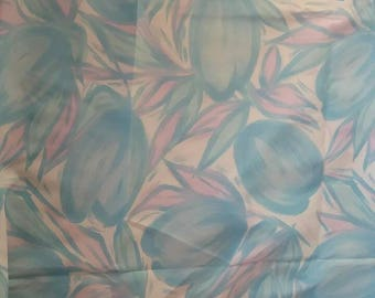 Cool Blue Watercolor Tulips Silky Vintage Fabric Yardage