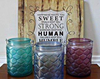 ON SALE Glass Candle Holders - Set of 3 - Green, Blue and Purple - Quilted Texture with Metal Hangers