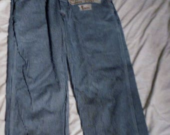 Vintage Kids Size 16 Roundhouse Engineer Striped Denim 27 X 29 Bib Usa Made Youth Overalls -ID 200A