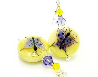 Yellow Earrings, Butterfly Earrings, Bright Earrings, Lampwork Earrings, Glass Bead Earrings, Glass Earrings, Butterfly Jewelry