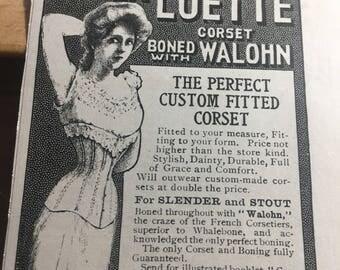Circa 1905 La Luette corset boned with Walhon. Ad.
