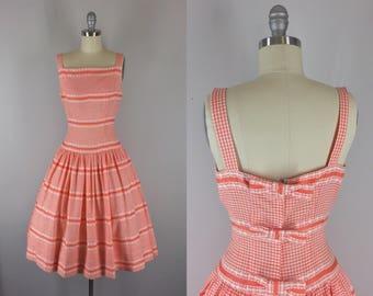 1950s Vintage Sundress / 50s Orange Gingham Dress with Back Bows
