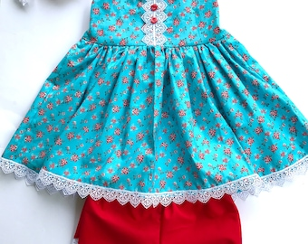 Red and blue dress, floral dress, rose dress, baby dress, toddler dress, girls dress, girls Tunic, baby Tunic, shorts set,  girls outfit,