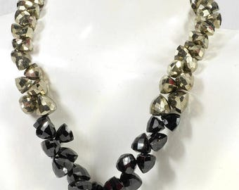 ON SALE Black Spinel and Pyrite Beads Faceted Trillions Pyramids Triangles Side Drilled Mined Gems - 4.5 Inches - 5.5 to 9.5mm - 28 Beads