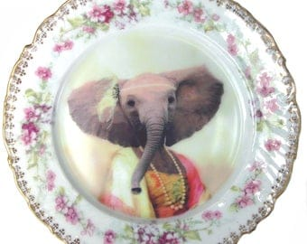 "Eleanor the Elegant Elephant Plate 7.2"""